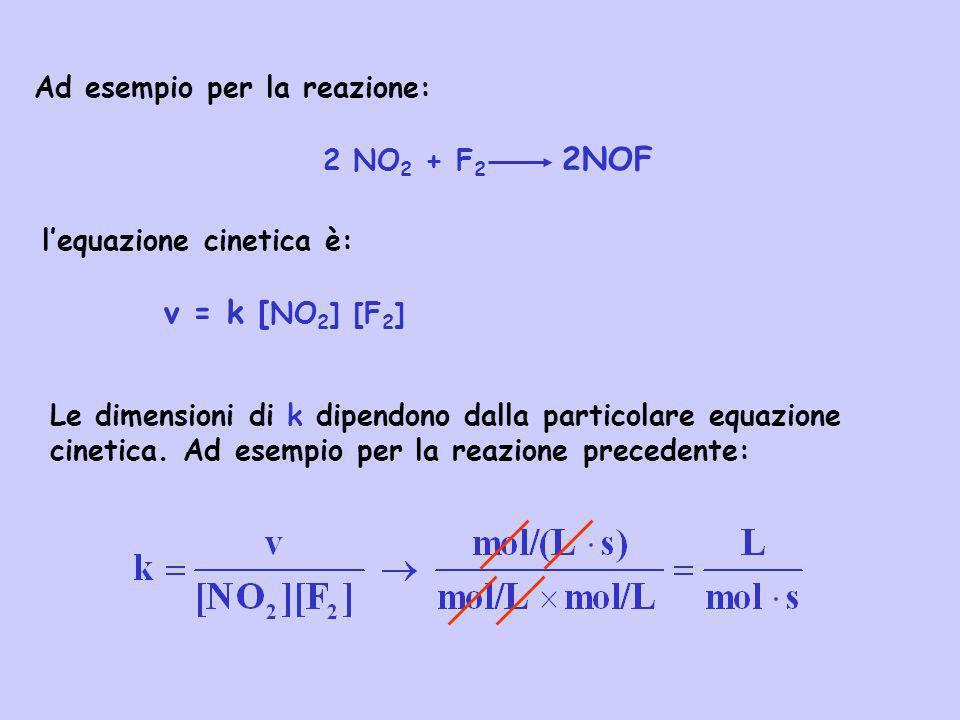 v = k [NO2] [F2] Ad esempio per la reazione: 2 NO2 + F2 2NOF